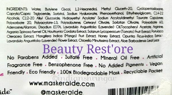 Maskeraide Beauty Restore ingredients