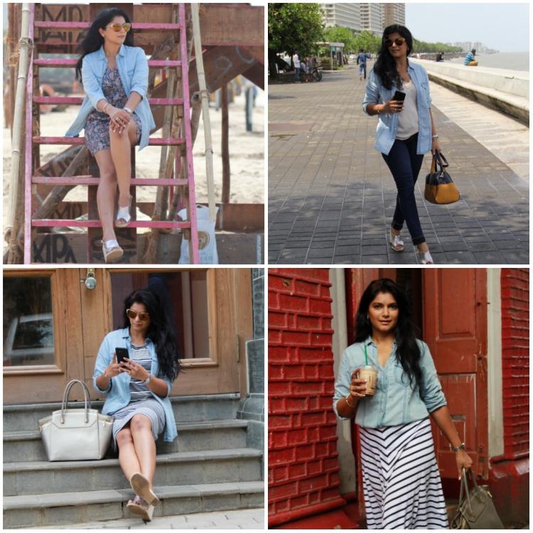 The Bombay Brunette- ways to style denim shirt