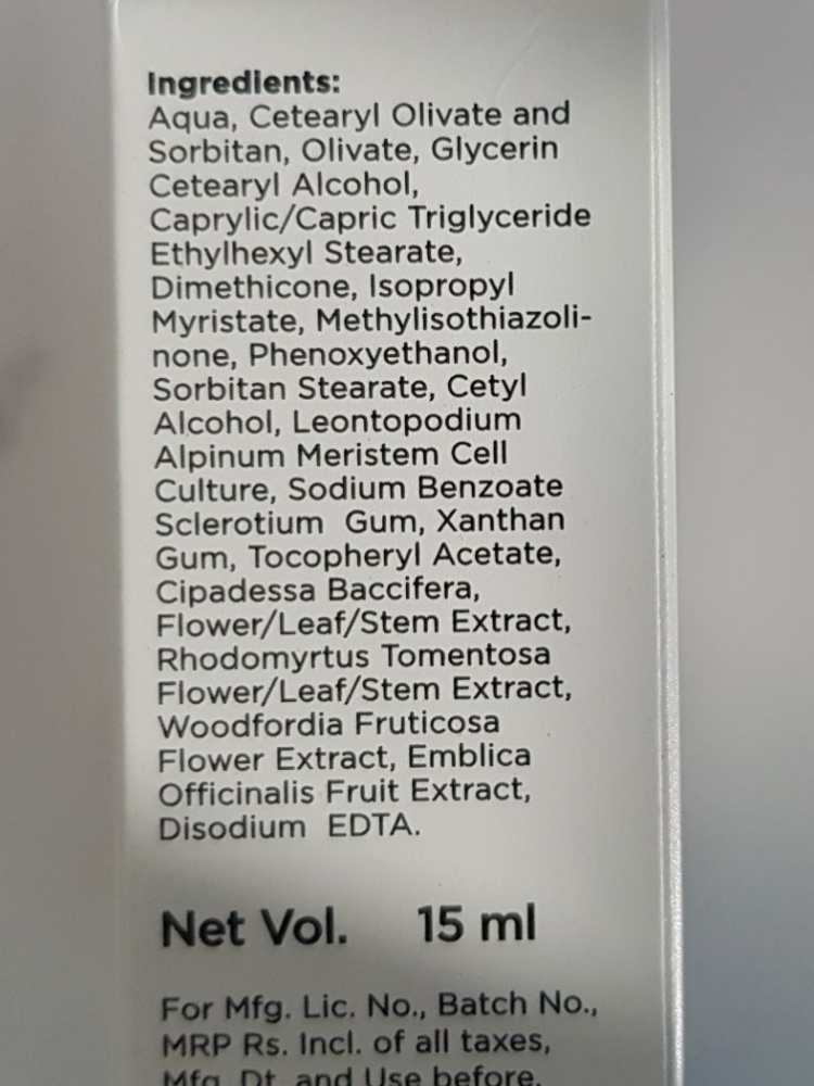 Himalaya Youth Eternity under eye cream ingredients
