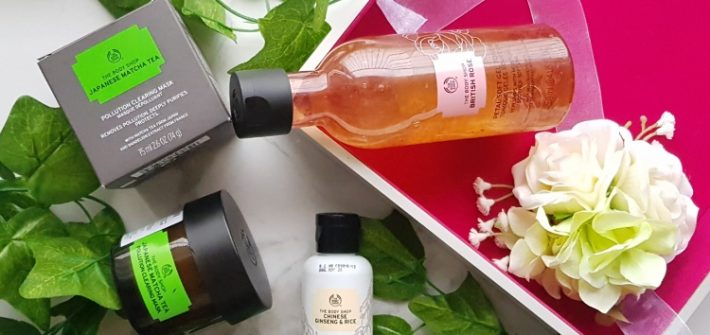 The Body Shop Matcha Mask, Rose Toner, Ginseng & Rice Powder wash review