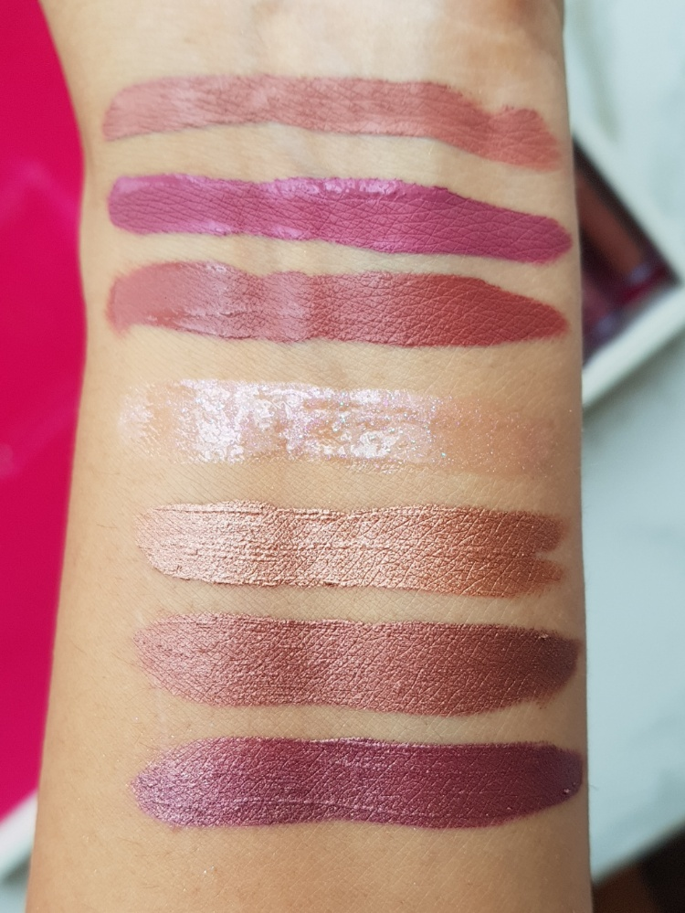 Colourpop ultra matte, ultra satin and ultra glossy lipstick swatches.