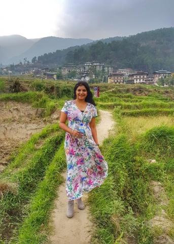 Walking through the rice terraces in Punakha, Bhutan