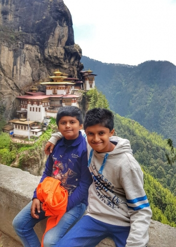 Kids trekking up to Tiger's Nest, Paro, Bhutan